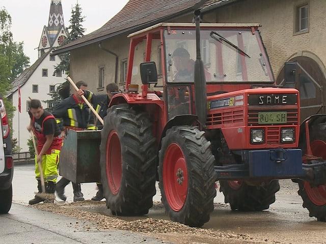 Tractor on mud