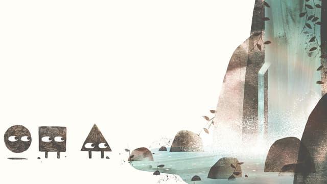 Kinderbuchillu: Ein Kreis, Quadrat und Dreieck stehen am Rande eines Wasserfalls.