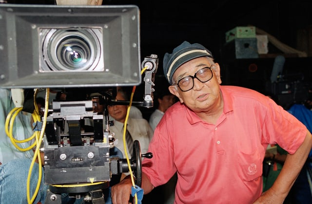 Japanischer Mann mit Weitwinkel-Kamera