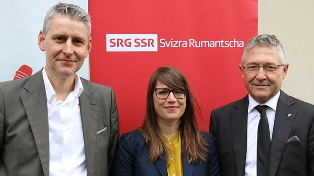 Ils dus novs commembers da la suprastanza SRG.R ed il president: Roger Tuor, Elena Luzio e Vincent Augustin
