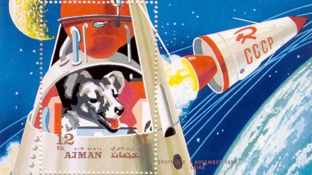 Aufwendig gestaltete Sonder-Briefmarke: Zeichnung eines Hundes im All, der aus einem Sateliten herausschaut.