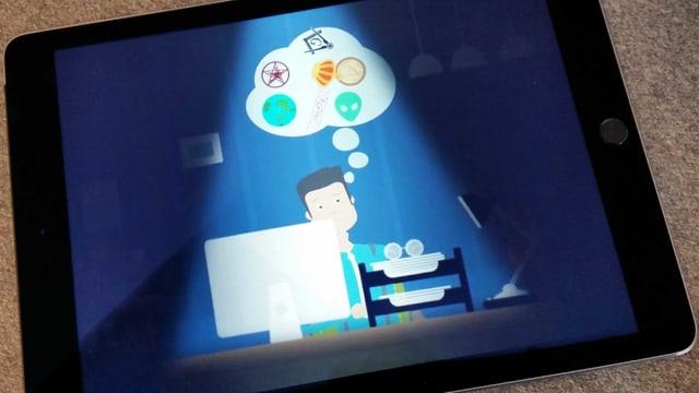 IPadzeigt Illustration: Mann sitzt vor Computer. In einer Denkblase über seinem Kopf schweben Aliens, eine Weltkugel und diverse Symbole.