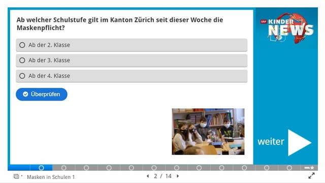 Eine Frage aus dem Quiz mit Multiple-Choice Antwortmöglichkeiten.