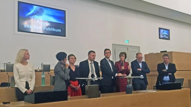 Ständeratskandidaten auf der Regierungsbank im Grossratssaal