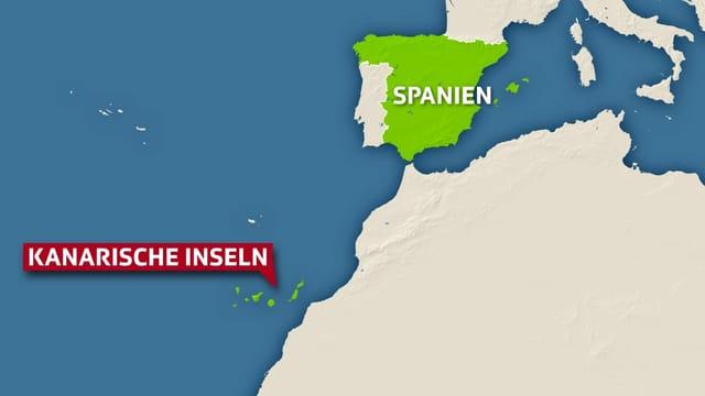 Karte der Kanarischen Inseln und des spanischen Festlands.