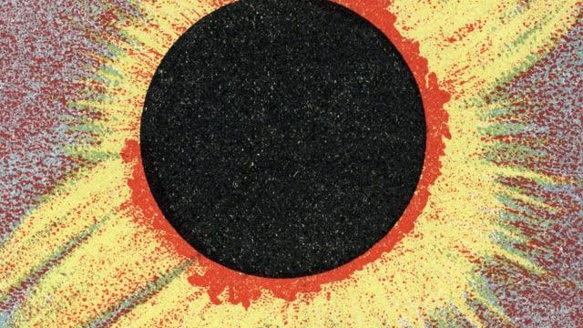 Auf einer Illustration verdeckt ein runder schwarzer Fleck die Sonne. Nur seitlich dringen gelbe Strahlen hervor.