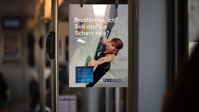 Werbeplakat des Universitätsspitals Zürich, das für eine Brustkrebsvoruntersuchtung wirbt.