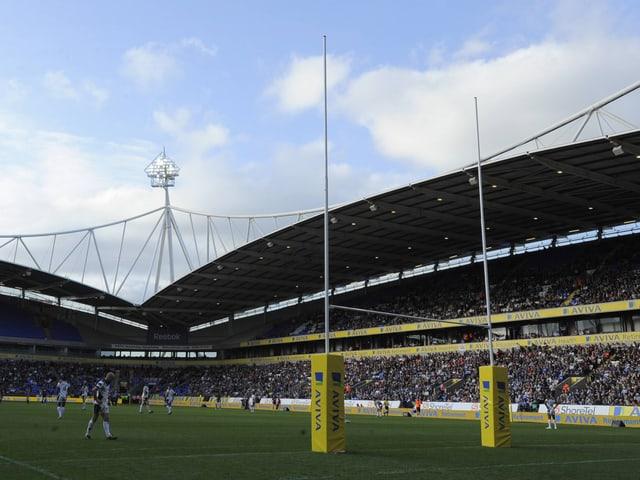 Ein Rugby-Tor in Bolton.