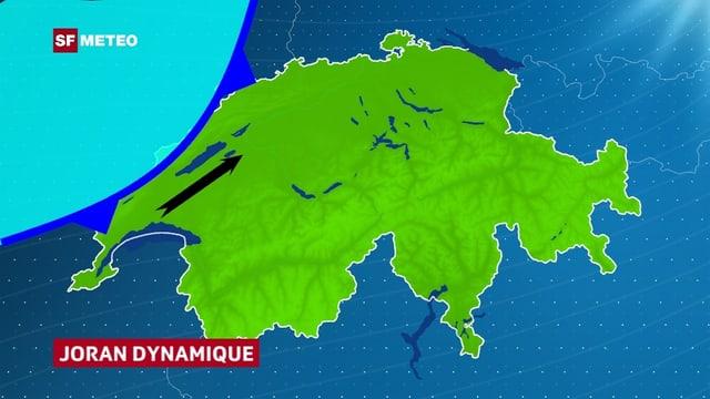 Eine Schweizerkarte. Über Frankreich ist in blau kalte Luft eingezeichnet. Im Mittelland zeigt ein Windpfeil Südwestwind an.