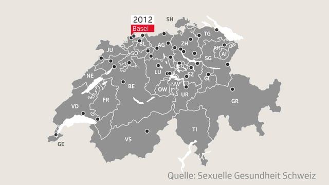 Karte der Schweiz mit den Standorten für vertrauliche Geburten