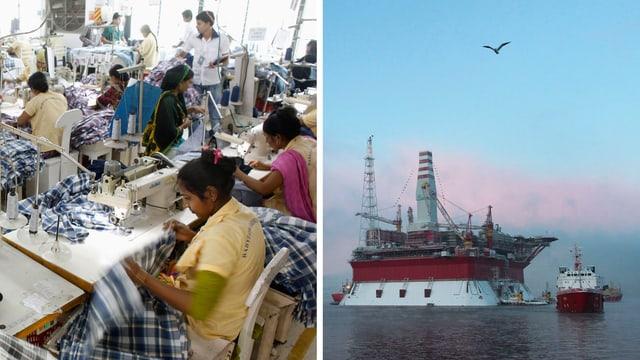Näherinnen in Bangladesch / Ölplattform in der Arktis