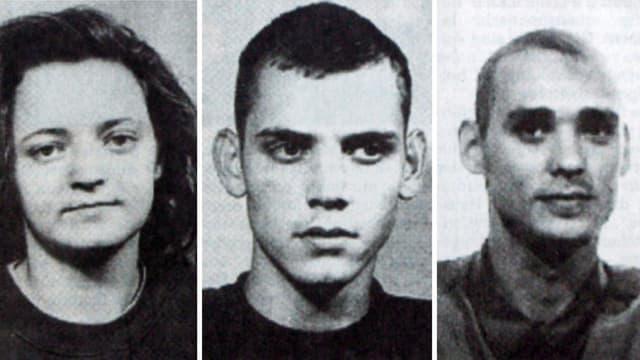 Fahndungsfotos der Terrorverdächtigen Beate Zschpäe, Uwe Böhnhardt und Uwe Mundlos.