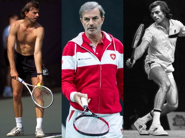 Bildcombo von Heinz Günthardt. Oben ohne als Trainer von Steffi Graf (1995), im Trainer als Fedcup-Coach (2019) und im Tennis-Dress als Aktiver (1983).
