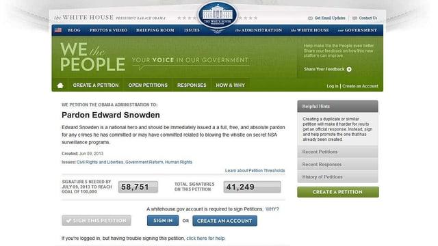 Bild der Online-Petition für Edward Snowden auf der Webseite des Weissen Hauses