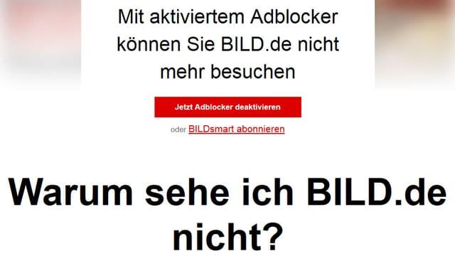 Information bei Bild.de: Mit aktiviertem Adblocker können Sie Bild.de nicht mehr besuchen