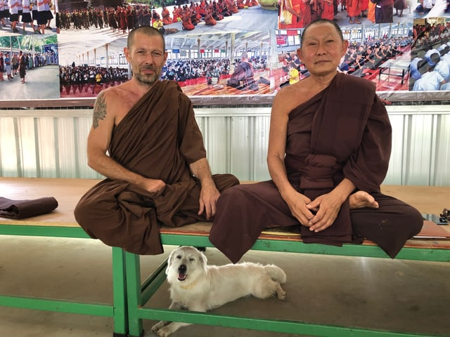 Zwei Mönche im Schneidersitz; Unter ihnen ein Hund.