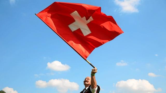 Schweizer Fahne vor blauem Himmel.
