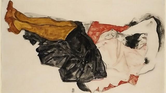 Das Bild «Frau, das Gesicht verbergend» von Egon Schiele.