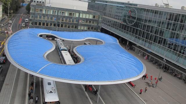 Die Wolke, das neue Wahrzeichen des Aarauer Bahnhofplatzes, von oben.