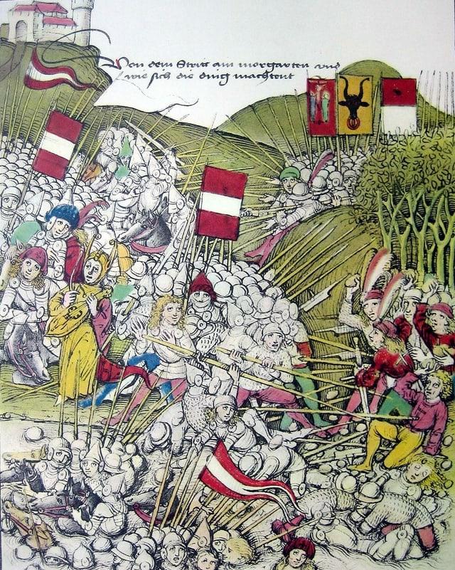 Eine historische Zeichnung von zwei grossen Heeren, die gegeneinander kämpfen.