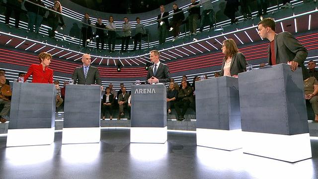 Ruth Humbel, Alain Berset, Silvia Schenker und Dimitri Rougy in der «Arena».