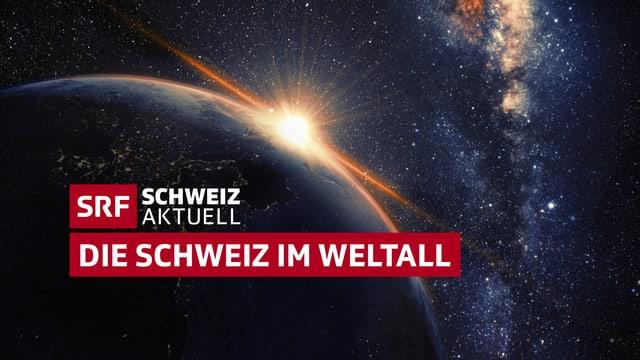 Weltkugel - Sicht vom Universum aus mit Logo