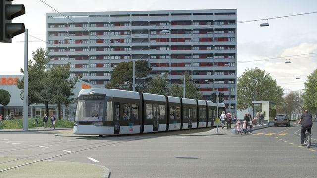 Fotomontage eines Trams vor einem Wohnhaus