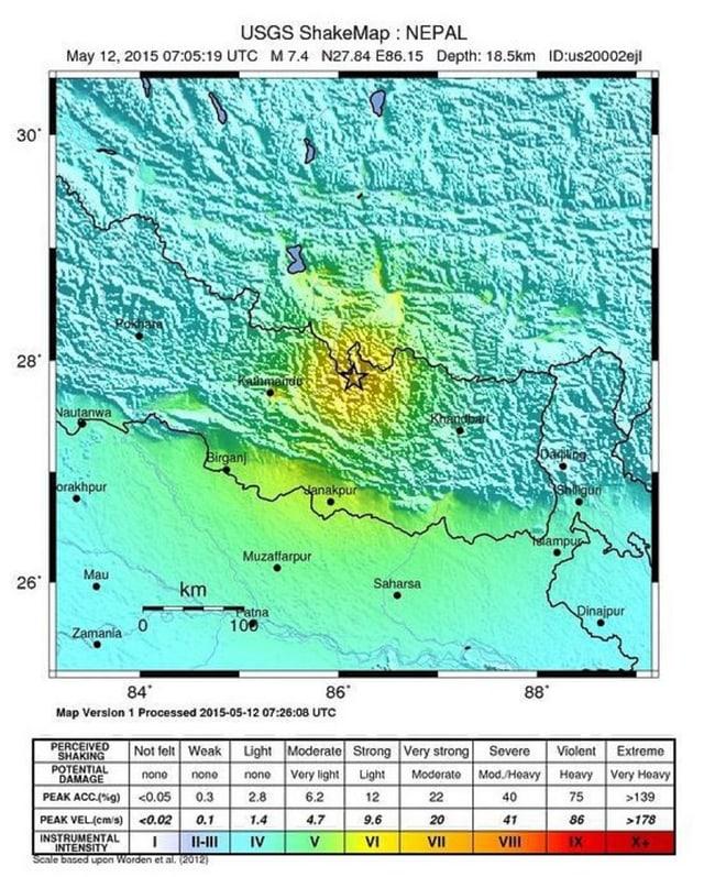 Charta che mussa l'epicenter dal terratrembel dals 12-5 en il Nepal.