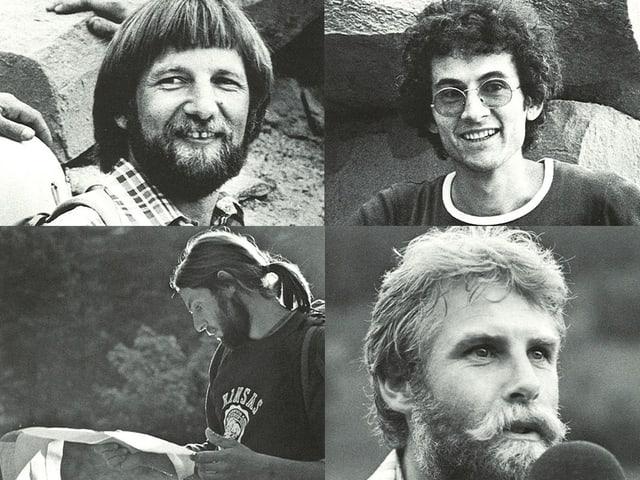 Porträtbilder in schwarzweiss von Toni Steiner, Daniel Bähler, Kurt Saurer und Markus Liechti.