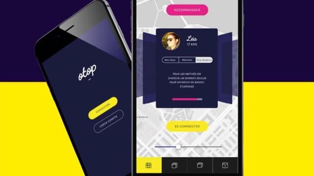 Ein Handy-Bildschirm mit der App in gelb, schwarz und rot.