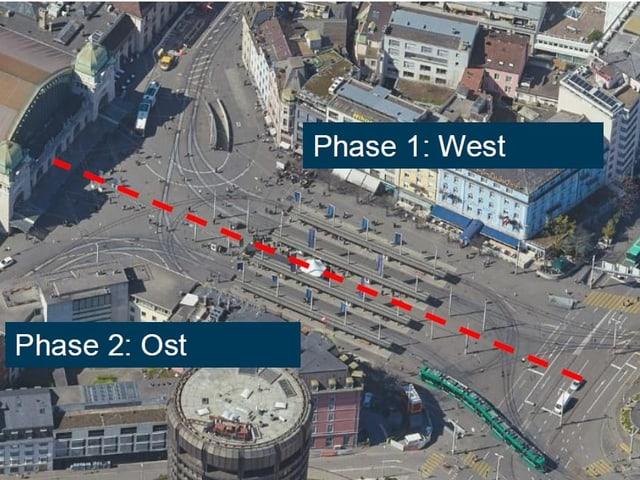 Zuerst wird die westliche Hälfte des Platzes aufgerissen. In der zweiten Etappe dann die östliche.