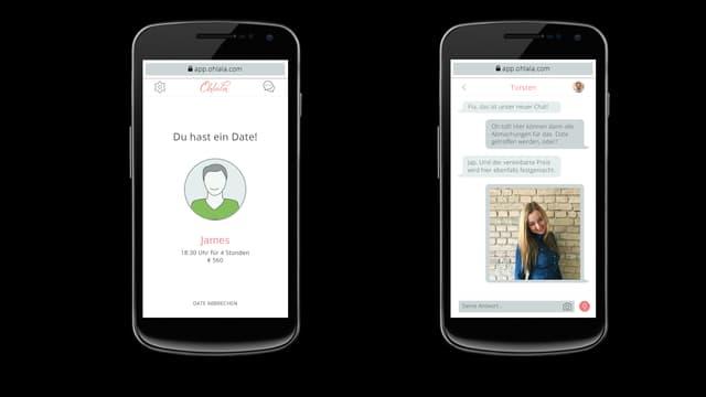 Zwei Smartphone-Bildschirme, die den Dating-Vorgang bei Ohlala.com zeigen.