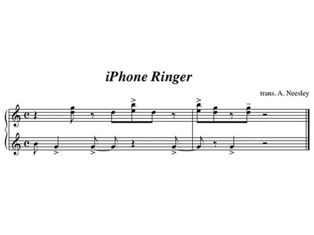 Die Melodie des «Marimba»-Klingeltons in Notenform.