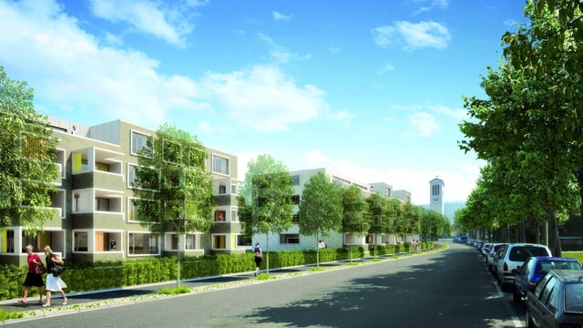 Visualisierung der geplanten Wohnsiedlung auf dem Winterthurer Zeughausareal