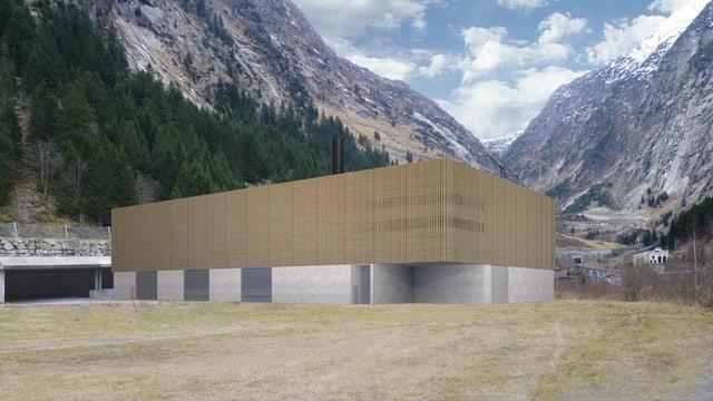 Ein Computermodell des neuen geplanten Holzheizwerk in Göschenen.