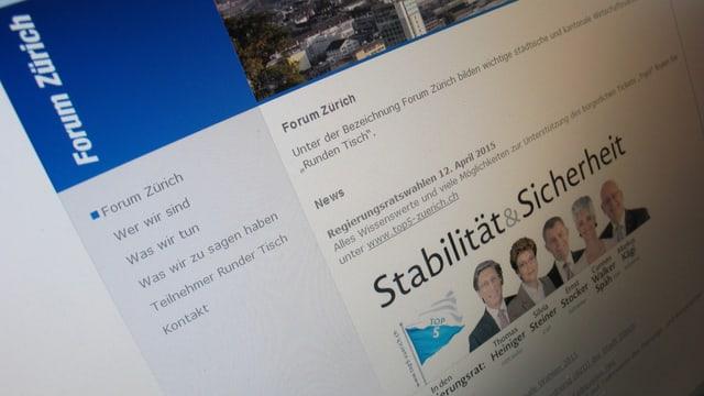 Fotografie der Startseite des Webauftritts des Forums Zürich