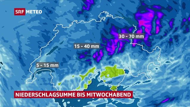 Niederschlagsmengen in der Schweiz bis Mittwochabend.