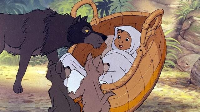 Wolfsvater mit zwei Wolfskindern vor einem Weidenkorb mit einem Säugling