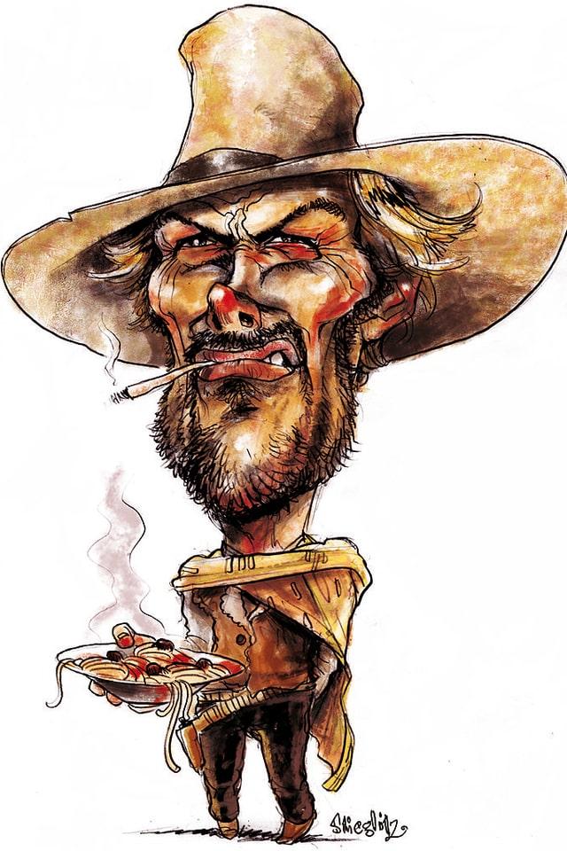 Portraitkarikatur mit dem Konterfei von Clint Eastwood. Im Mund hängt eine rauchende Zigarette, auf dem Kopf sitzt sein Schlapphut, die Augen sind zusammmengekniffen und in der Hand hält er einen Teller voller dampfender Teigwaren.