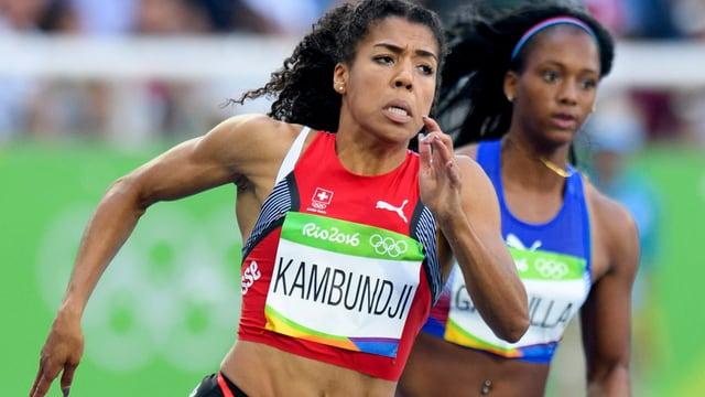 Mujinga Kambundji en acziuns sur 200 meters.