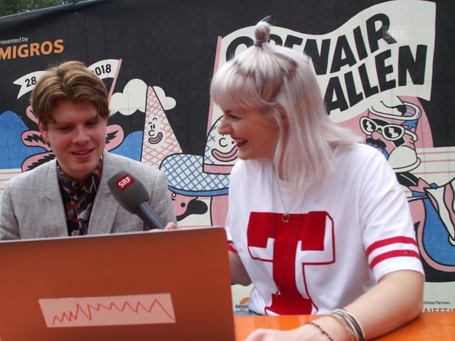 Crimer und Tina Nägeli analysieren die Werte nach dem Konzert.
