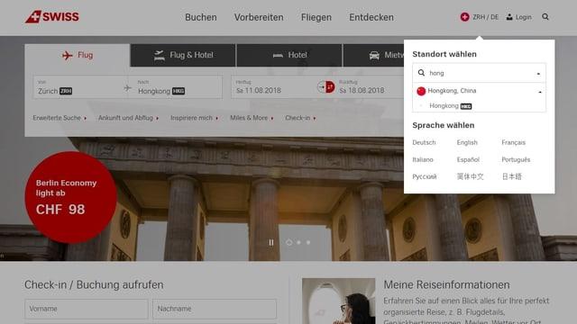 Gibt man auf der Swiss-Homepage «Hongkong» ein, erscheint die China-Flagge