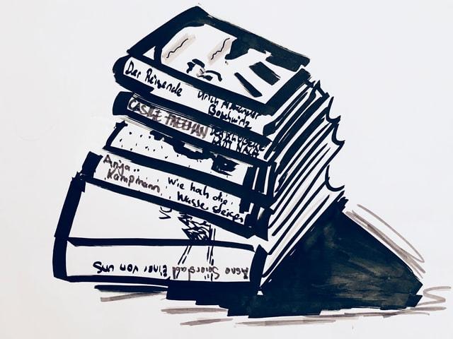 Zeichnung von einem Bücherstabel. Darunter die erwähnten Buchtipps.