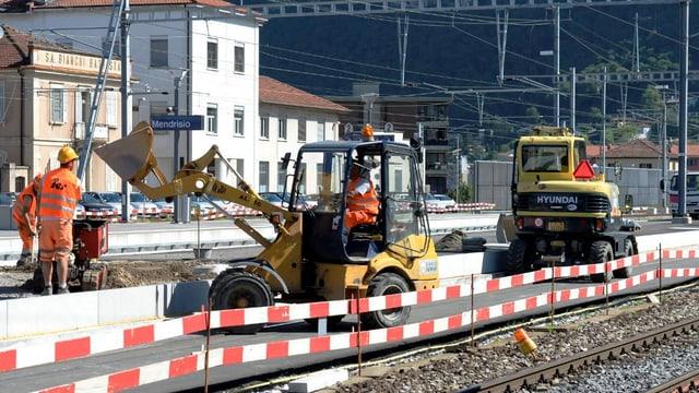 Die Bauarbeiten beim Bahnhof von Mendrisio.