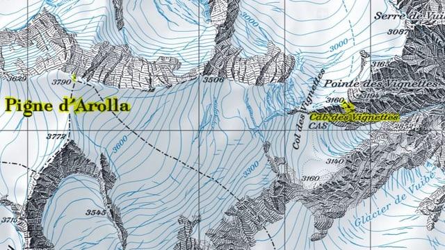 Kartenausschnitt der Region «Pigne d'Arolla» und der  «Cabane des Vignettes»