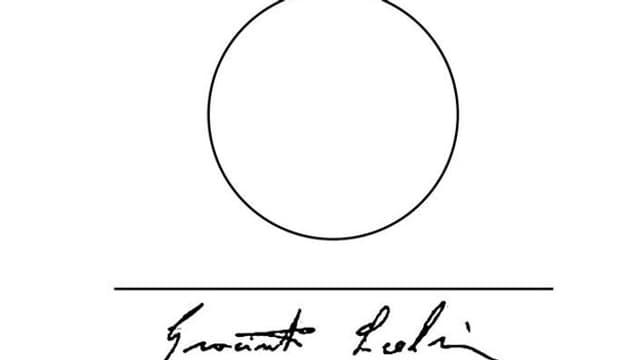 Ein Kreis, ein waagerechter Strich und eine Unterschrift: das gab Scelsi ab, wenn ihn jemand fotografieren wollte.