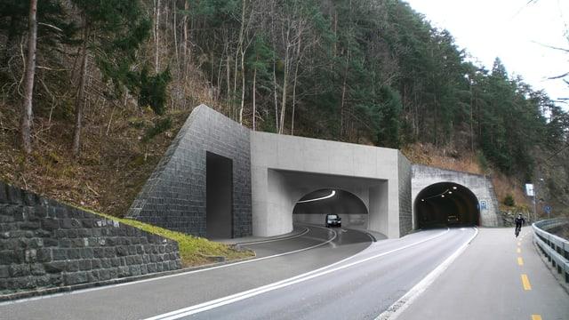 Visualisierung der Einfahrt des geplanten Axentunnels