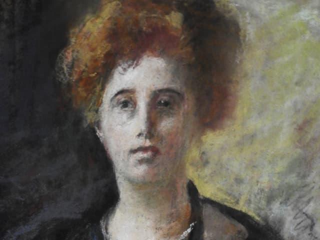 Gemälde einer Frau mit dunklem Oberteil und orange-blonden Haaren