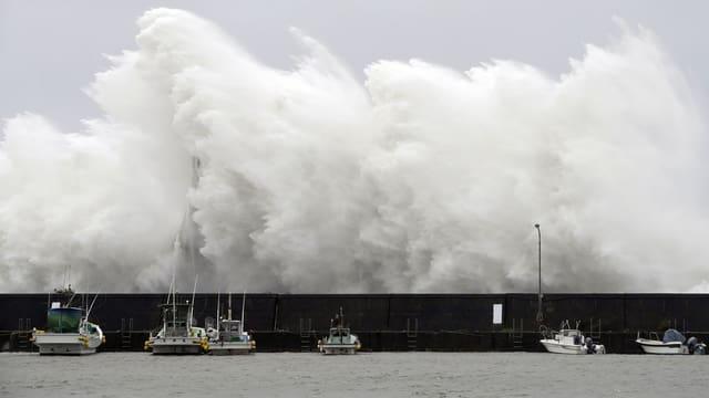 Eine Welle trifft auf den Hafen im japanischen Aki.