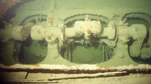 Das Bild zeigt die mit grünen Algen überzogenen Achse des Raddampfer «Jura» auf dem Grund des Bodensees.